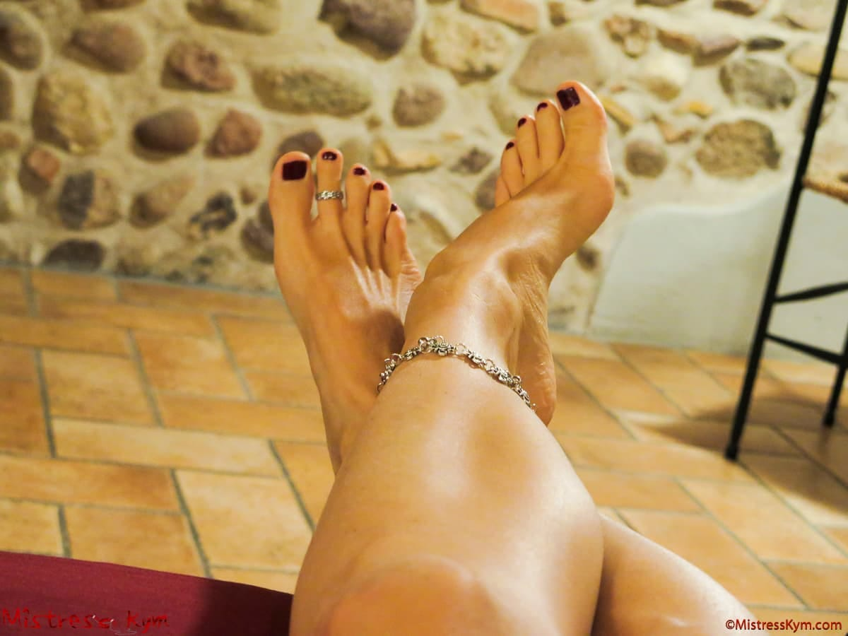 MistressKym arched feet with dark red polished anklet and toes ring
