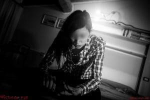 Mistress Kym in casual country shirt is looking at her veiny hands and waiting for her domestic slave - soft femdom